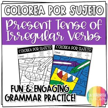 ¡Colorea por Sujeto! Irregular Present Verbs - Spanish verb coloring activity