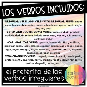 Irregular Preterite Tense Verbs Worksheets - Spanish verb coloring activity