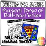 Present Tense Reflexive Verbs Worksheet - Spanish verb coloring activity