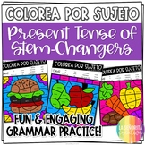 Stem-Changing Present Tense Verbs Worksheets | Spanish verb coloring activity