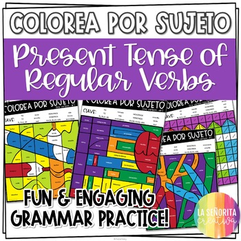 ¡Colorea por Sujeto! Regular Present Tense - Spanish verb coloring activity