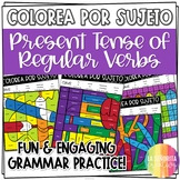 Present Tense Regular Verbs Worksheets - Spanish verb coloring activity