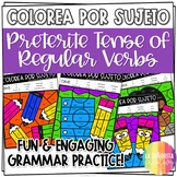 ¡Colorea por Sujeto! Regular Preterite Tense - Spanish verb coloring activity