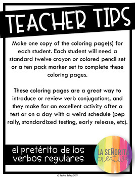¡Colorea por Sujeto! Regular Preterite Tense - Spanish verb coloring activity