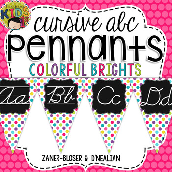 {Colorful Brights} Cursive Alphabet Pennant Banner