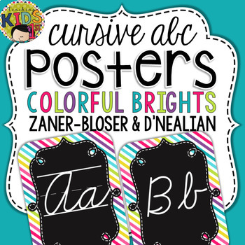 {Colorful Brights} Cursive Alphabet Posters