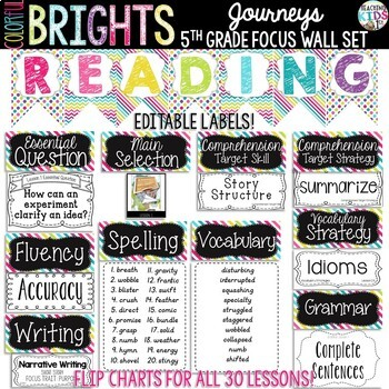 {Colorful Brights} Journeys 5th Grade Focus Wall Set  + Editable Posters