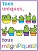 {Colourful Cactus French motivational posters!} 6 printable posters