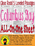 """""""Columbus Day"""" Close Read 5 Level Passages ALL-ON-ONE SHEET Informational Text"""