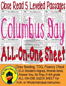 """Columbus Day"" Close Read 5 Level Passages ALL-ON-ONE SHEET Informational Text"