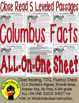 """Columbus Facts"" Close Read 5 Level Passages ALL-ON-ONE SHEET Informational Text"