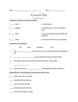 """Come A Tide"" QUIZ - Spotlight On Literacy (Book Two - Level 7)"