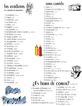 ¡Comida! -- Food, Kitchen, and Cooking Spanish Vocabulary & Cooking Show Project