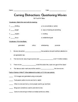 """""""Coming Distractions"""" QUIZ (Journeys Grade 4 Reader)"""