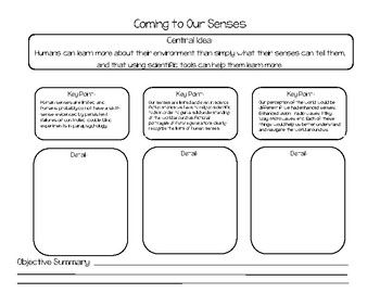 'Coming to Our Senses' Graphic Organizer - Key Ideas & Details - ESE Supplement
