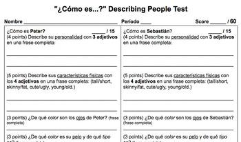 """""""¿Cómo es...?"""": Describing People Test"""