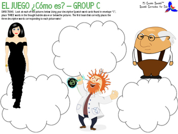 """¿Cómo es?"" Spanish Game - (Professions, Adjectives, Physical Attributes)"