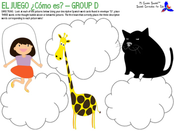 """""""¿Cómo es?"""" Spanish Game - (Professions, Adjectives, Physical Attributes)"""