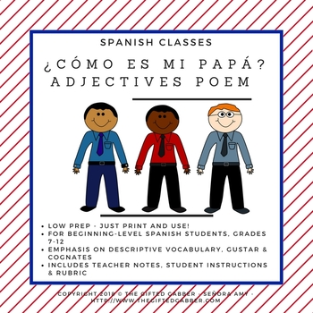 ¿Cómo es mi papá? - Adjectives Acrostic Poem - Spanish Class