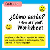 ¿Cómo estás?-How are you? Worksheet (Adaptable)