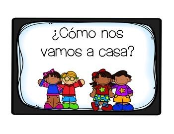 ¿Cómo nos vamos a casa? (How do we go home clip chart) Spanish