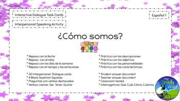 ¿Cómo somos? - Interpersonal Dialogue 50 Interactive Task Cards - Spanish 1