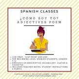 ¿Cómo soy yo? - Adjectives Acrostic Poem - Spanish Class