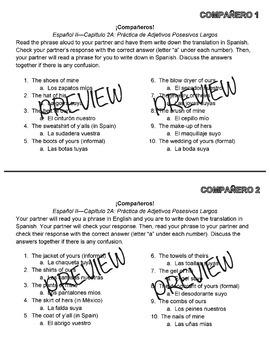 ¡Compañeros! Realidades 2A Possesivos Largos Partner Review Game