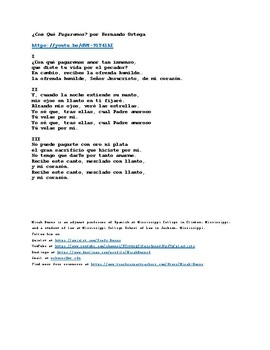 ¿Con Qué Pagaremos? (With What Will We Pay?) by Fernando Ortega. Spanish Hymn