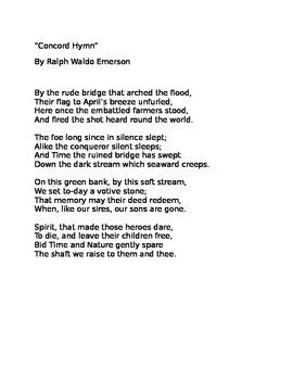 """Concord Hymn"" Poem Core Knowledge"