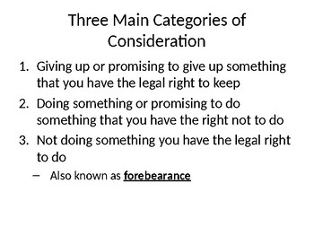 """Consideration"" Contract Element - Presentation / Lesson"