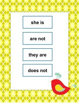 ***Contractions Match Up File Folder- Special Education and Skills Practice***
