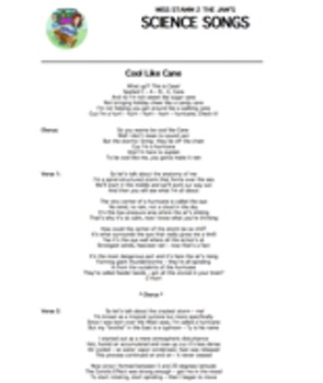 """Cool Like Cane"" Lyric Sheet, Worksheet, and Answer Key"