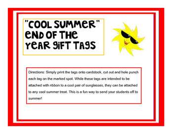 """Cool Summer"" End of the Year Gift Tags"