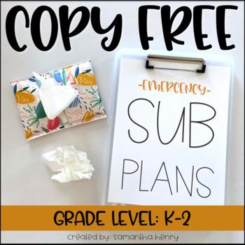 """Copy Free"" No Prep Sub Plans (editable directions!)"