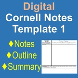 """""""Cornell Notes"""" Digital Doc - Traditional: Notes, Outline,"""
