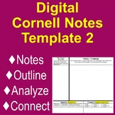 """""""Cornell Notes"""" Digital Doc - Updated: Notes, Outline, + A"""