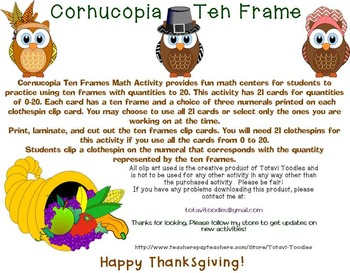 * Cornucopia Ten Frame Math Activity * Thanksgiving