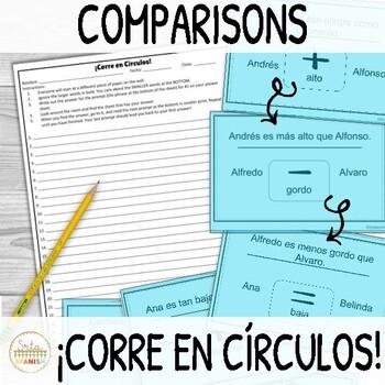 Comparisons in Spanish ¡Corre en Círculos! Activity