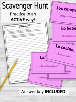 Direct Object Pronouns and Food ¡Corre en Círculos! Activity