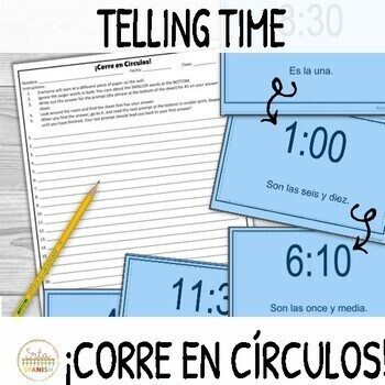 Telling Time in Spanish ¡Corre en Círculos! Activity