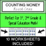 ⭐ Counting Coins Money Packet, Worksheets: 1st, 2nd Grade & Special Education ⭐