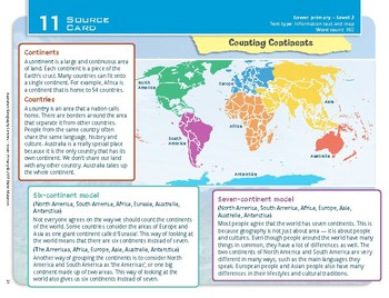 """""""Counting Continents"""" Year 2 Card 11 Australian Geography Centre"""