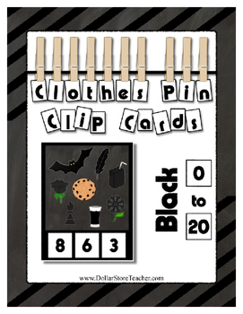 ! Counting to 20 Clip Card Clothes Pin Set ~ Focus color for this set is Black