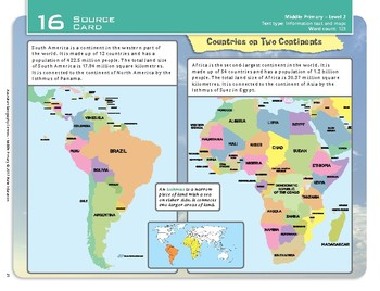 """""""Countries on Two Continents"""" Year 4 Card 16 Australian Geography Centre"""