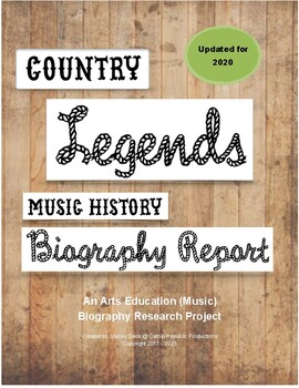 """""""Country Music Legends"""" Biography Project:  Arts Education 7 - 12"""