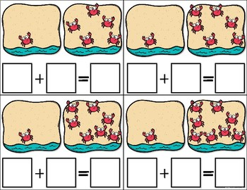 """""""Crabby"""" Addition Task Cards (Sums 1-10)"""