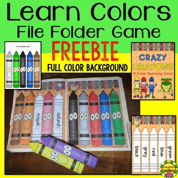 """""""Crazy Crayons"""" Learn Colors File Folder Game for Toddlers and Preschool"""