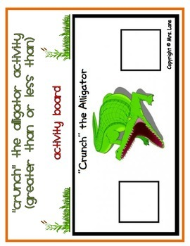 """""""Crunch"""" the Alligator Activity (Greater Than or Less Than)"""