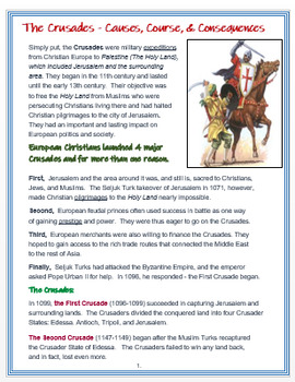 THE CRUSADES - Causes, Course, and Consequences + Assessments